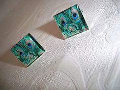 Green Peacock Handmade Mens CufflinksGroom by BridalGardenBoutique, $24.00