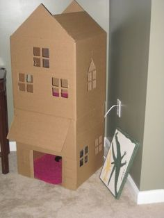 make a cat house out of boxes I love it.  Would be cuter painted.  Could actually be cute decor too. Cardboard Cat House, Cardboard Crafts, Crazy Cat Lady, Crazy Cats, Cat Playhouse, Cat Castle, Homemade Cat Toys, Kitten Party, Cat House Diy