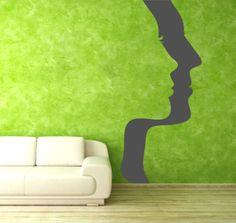 Silhueta de Caras em Parede em vinil autocolante decorativo para decoração em paredes.