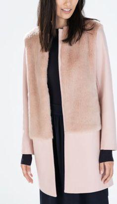 Zara pink coat with fur panel
