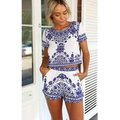 USD10.99Cheap Sexy O Neck Short Sleeves Print Blending Two-piece Regular Jumpsuit