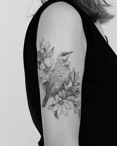 Sweet Tui bird done by Bird Tattoo Sleeves, Sleeve Tattoos, Tui Bird, Tattoo Inspiration, I Tattoo, Tatting, Body Art, Art Drawings, Ink