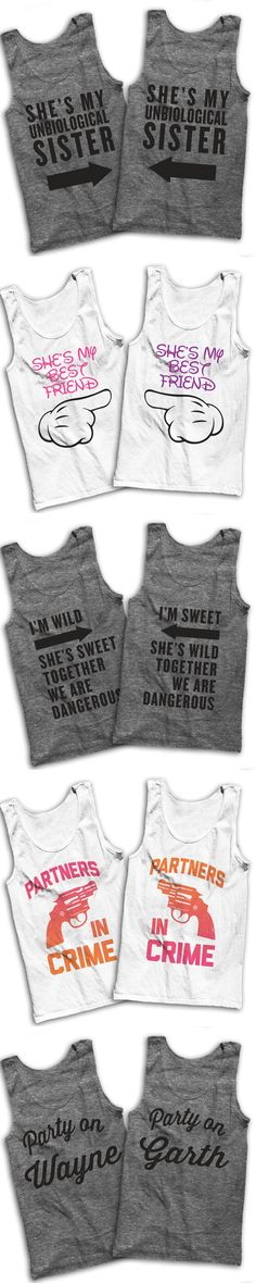5 Awesome Matching T Shirts For You And Your Best Friend! While you're in check out our sarcastic lazy shirts for that cheat day, or grab a matching shirt for you and I'm wild and a social butterfly bff! Bff Shirts, Cute Shirts, Funny Shirts, Sarcastic Shirts, Best Friend Outfits, Best Friend Shirts, Best Friend Goals, Friends Shirts, Best Friend Clothes
