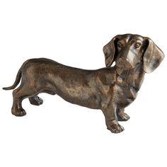 "ChezRoulez.com: Iron dachshund ""Fido"" with bronze finish. Dimensions: 9""h x 5""d x 15""w"