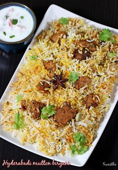 Hyderabadi mutton biryani recipe made in kachi dum style. Marinated lamb meat is dum cooked along with half cooked rice to infuse the flavors of spices.