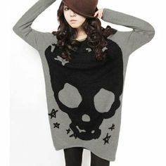 Great for winters with leggings n knee length shoe Material : Acrylic; Features Long Sleeve, Scoop Neck, Skull Pattern, Pullover Tunic Shirt