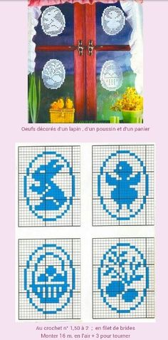 Easter Window and Door Decorations - Crochet Guides Filet Crochet, Crochet Quilt, Crochet Chart, Crochet Doilies, Easter Crochet Patterns, Doily Patterns, Ornaments Image, Diy Ostern, Holiday Crochet