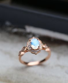 Moonstone engagement ring women,Vintage diamond wedding art deco rose gold ring Jewelry Anniversary gifts for her, Prong set Milgrain ring - Art Deco Engagement Ring Art Deco Wedding Rings, Wedding Rings Rose Gold, Art Deco Ring, Wedding Rings For Women, Bridal Rings, Wedding Art, Rose Wedding, Deco Engagement Ring, Vintage Engagement Rings