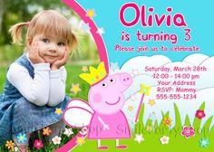 Peppa Pig Birthday Invitation, Peppa Pig Invitation, PERSONALIZED, Digital File