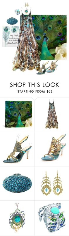 """""""Peacock #1"""" by teresarussell49 ❤ liked on Polyvore featuring Converse, iCanvas, Roberto Cavalli, Annette Ferdinandsen, Robert Pelliccia and Lalique"""