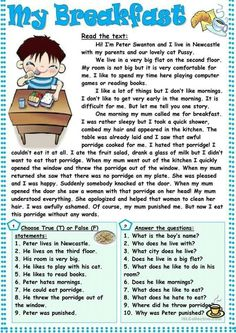 4 Comprehension Exercises My Breakfast √ Comprehension Exercises . Nothing New Under Sun Third Grade Reading Worksheets in Informations About 4 Comprehension Ex Comprehension Exercises, Reading Comprehension Activities, Reading Worksheets, Printable Worksheets, Reading Passages, English Grammar Worksheets, English Vocabulary, Reading Skills, Teaching Reading