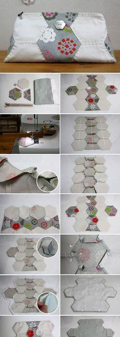Quilting Hexagon Pouch Tutorial DIY in Pictures. http://www.handmadiya.com/2015/11/hexagon-pouch-tutorial.html