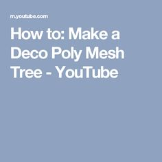 How to: Make a Deco Poly Mesh Tree - YouTube