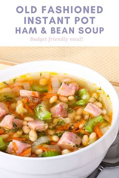 Old fashioned Instant Pot Ham and Bean Soup is a hearty recipe your entire family will love! This easy to make broth based soup uses dry navy beans to make it a cheap meal. Ham And Beans, Ham And Bean Soup, Easy Meat Recipes, Best Dinner Recipes, Ham And Cabbage Soup, Hearty Recipe, Slow Cooker Ribs, How To Cook Ham, Cheap Meals