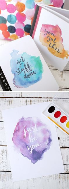 Free Printable watercolor saying (for notebook covers or other projects)