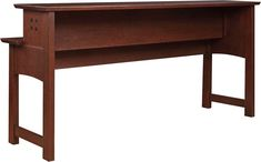 Stickley - Highlands Gathering Island™ (Patent Pending) 89-1708 console table  This imaginative piece can be placed along a sofa back, providing storage and a place to set and serve food and drinks. It can also be used with our counter stools as an alternate seating area. A burned laser motif accentuates the sides. Wire access through the top. Power strip with USB connection. Available in solid oak or cherry.
