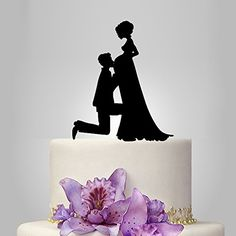 Buythrow Pregnant Bride and Groom Silhouette Wedding Cake Topper, Acrylic…
