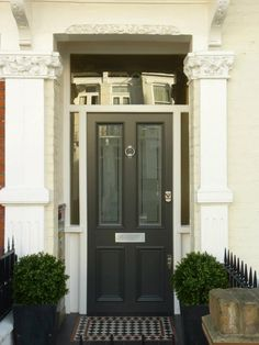 Satin dark grey front door, modern front door, edwardian house, victorian t Dark Grey Front Door, Gray Front Door Colors, Modern Front Door, Black Door, Edwardian House, Victorian Homes, Edwardian Style, Victorian Design, Glass Front Door