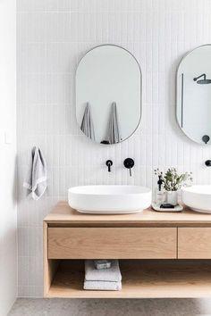 Scandinavian bathroom with floating vanity and vessel sinks - Modern Wood Bathroom, Bathroom Flooring, Modern Bathroom, Bathroom Ideas, Spa Like Bathroom, Mirror Bathroom, Remodel Bathroom, Minimal Bathroom, White Bathroom
