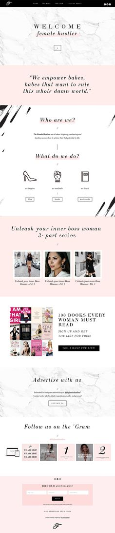 Squarespace Website Design: The Female Hustlers by Big Cat Creative | Website Design for Bloggers | Website Design Inspiration | Squarespace Website Design Inspiration | Colorful Website Design | Girly Website Design Inspiration | Classy Website Design | Pink Website Design | Blog Design Inspiration | Full Width Website Design | Squarespace Website Design for Small Business Owners and Creative Entrepreneurs | Girlboss | Website Design for Female Entrepreneurs