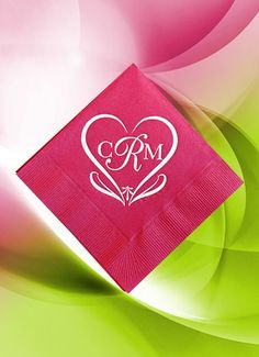 This hot pink napkin is printed in white ink. Our exclusive heart design is called Rome and is part of the Classic Monogram Collection. It is available with or without a date, in any color combination or napkin size. Napkins perform a necessary function at your event but also can be an important design element at very low cost. Visit us at www.favorsyoukeep.com to see the entire napkin portfolio or call us at 512.323.0600 #pinkweddingideas #pinknapkins #heartdesigns