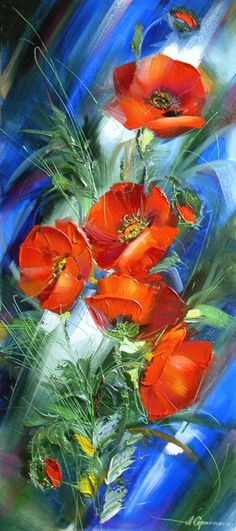 """Photo from album """"Маки"""" on Yandex. Abstract Flowers, Watercolor Flowers, Watercolor Paintings, Arte Floral, Pictures To Paint, Red Poppies, Art Oil, Painting Inspiration, Flower Art"""