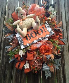 Halloween Wreath Halloween Decor Halloween Door by BaBamWreaths