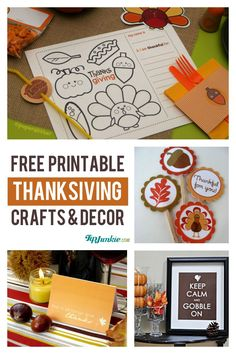 12 Free Printable Thanksgiving Crafts {instant download} #thanksgiving #printable