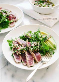 Seared Ahi Tuna with Chimichurri Sauce, Arugula and Avocado | www.kitchenconfidante.com