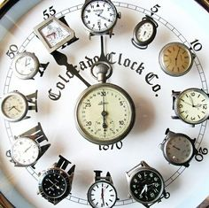 repurpose old watches into a  big wall clock (you could make each watch display its respective time for its location on the larger clock)