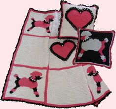 One of the most memorable symbols of the fifties decade was the poodle skirt fad. Experience a blast from the past with our Poodles & Hearts Afghan and Pillows Pattern Set! This is a constant reminder of be-bop music, the 50's and 60's and poodle skirts. This is a great anytime treasure!