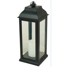 5.94-in x 16-in Black Glass Solar Outdoor Decorative Lantern