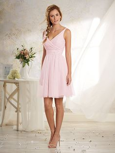 Alfred Angelo Style 8629S: Cocktail length short bridesmaid dress with V neckline