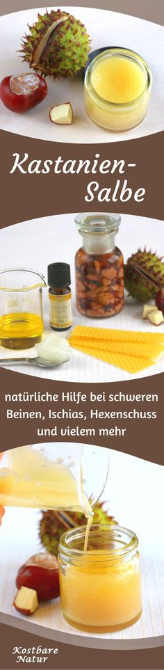 Kastanien-Salbe gegen schwere Beine, Ischias, Hexenschuss und mehr The beneficial effect of the horse chestnut in a homemade ointment - against heavy legs, joint problems, inflammation and more. Art Rose, Health And Wellness, Health Fitness, Homemade Beauty, Natural Medicine, Health Remedies, Natural Health, Natural Remedies, Healthy Life