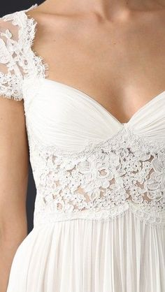 Beautiful white wedding gown with lace detail