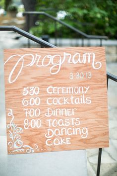 Wedding Program Sign, white on wood/ Order of Events