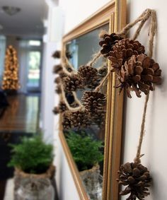 pine cone garlands for fall at seejaneblog home