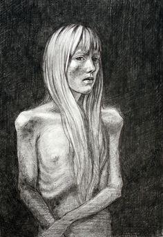 Maija Ranka \ 'Zero', 2013. Black colored pencils + black pen + white gel pen. A4.