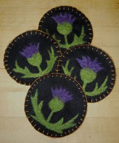 Needle felted thistle coasters | by Foxes Ridge