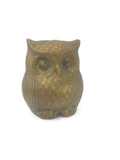Vintage Brass Owl Coin Bank Piggy Bank Money by EclecticEmbrace
