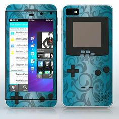 Sky Blue Video Game Designer Device Flowered video game device pattern phone skin sticker for Cell Phones / Blackberry Z10 | $7.95