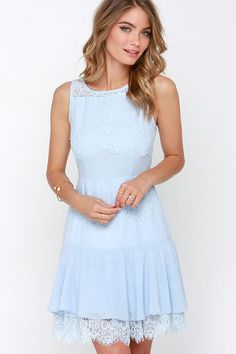The Pastel Me More Light Blue Lace Dress is the cutest lacy number you've worn yet! A sleeveless bodice with rounded neckline is topped with panels of eyelash lace all above a trumpet skirt. Black Dress Outfits, Casual Dresses, Short Dresses, Lace Dresses, Modest Outfits, Dress Lace, Party Dresses, Light Blue Lace Dress, Light Blue Dresses