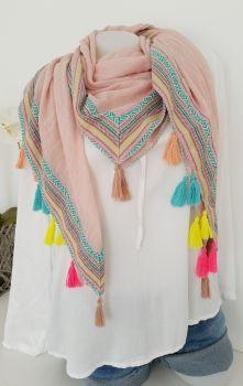 vintage-fashion-design - Hippie Boho Tuch mit bunten Quasten rose
