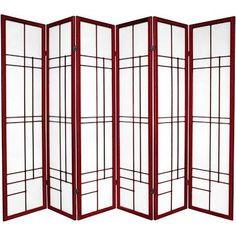 6 ft. Tall Eudes Shoji Screen - Rosewood - 6 Panels