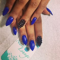 nail game, blue nails, black nail, nail art, pointy nails, holiday nails