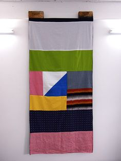 """""""See What Happens"""", patchwork banners by William Edmonds."""