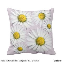 Floral pattern of white and yellow daisies pillow