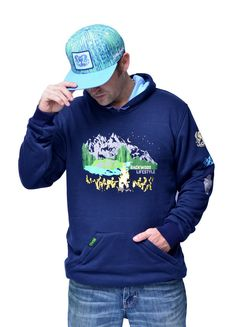 Backwood Lifestyle Zig Zag Eco-Hoodie . Made with Interior Bamboo Fabric Lining in Baby blue. Zippered front pockets. Limited Edition