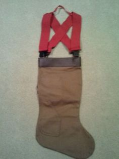 Fireman's Boot Christmas Stocking with Red Suspenders