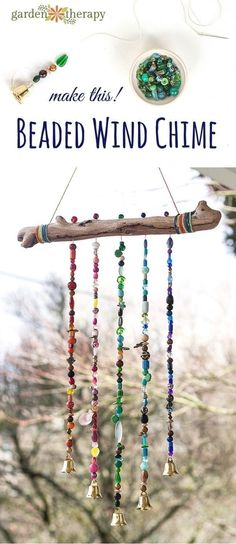 How to make a sparkling bead wind chime with bells! I'll admit I'm a bit of a craft supply hoarder and have accumulated a massive amount of beautiful beads over the years but have barely used them. This project is the perfect excuse to get out my bead supply and make something I'll enjoy seeing out my window every day. by Maiden11976
